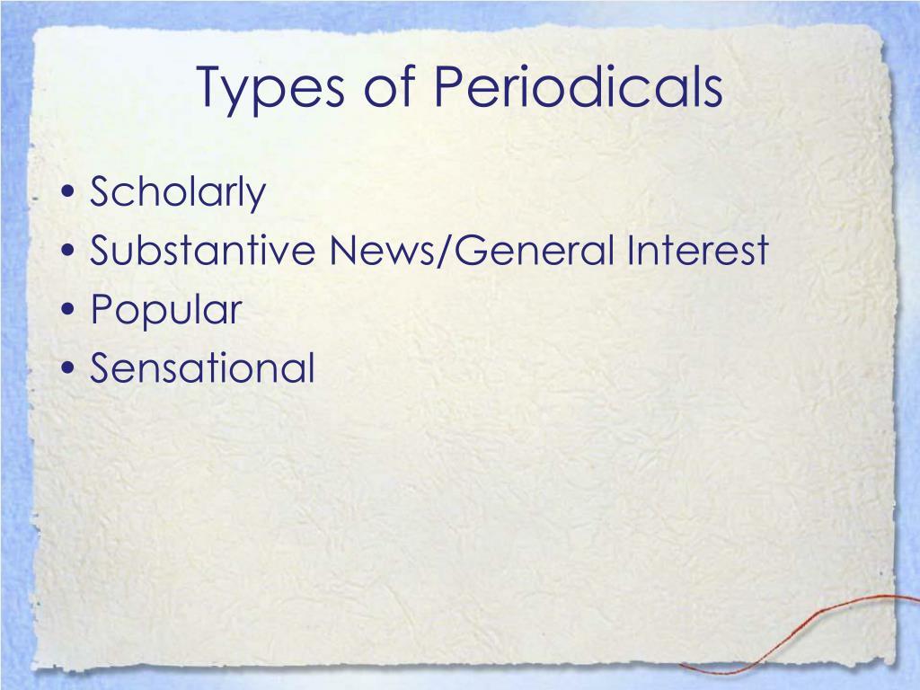 Types of Periodicals