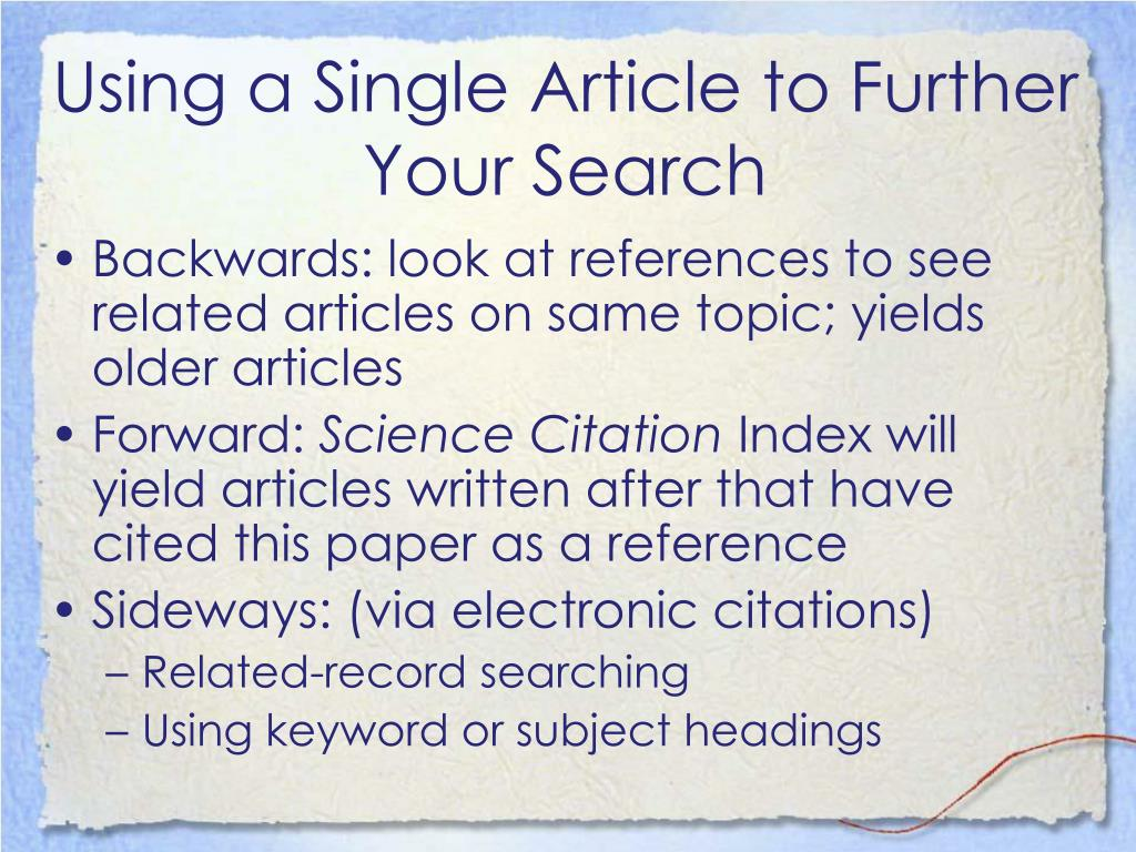 Using a Single Article to Further Your Search