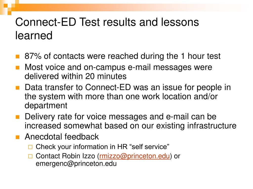 Connect-ED Test results and lessons learned