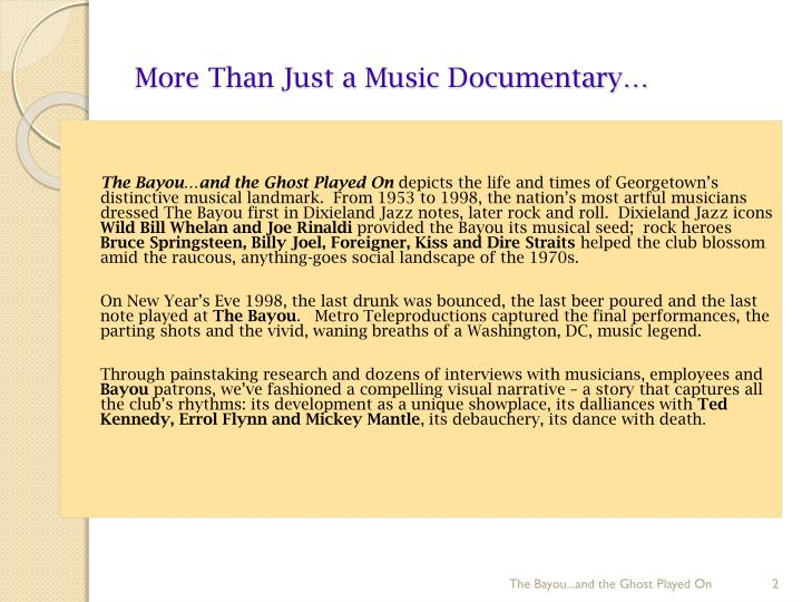 More than just a music documentary