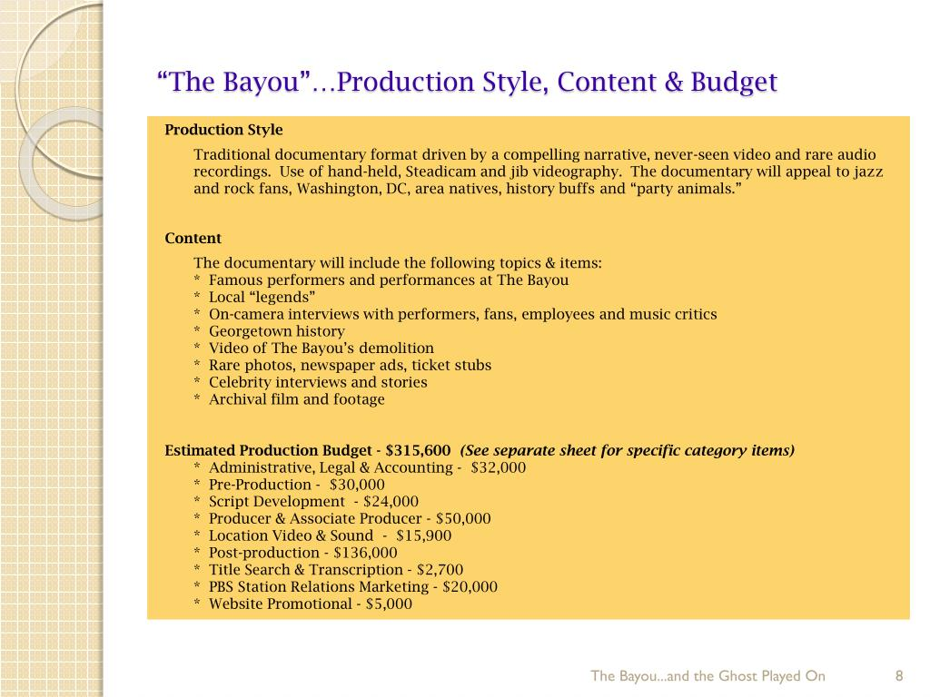 """""""The Bayou""""…Production Style, Content & Budget"""
