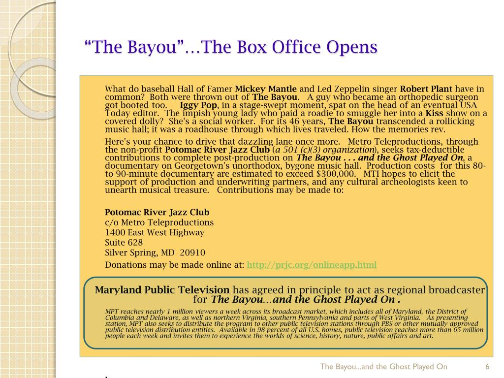 """""""The Bayou""""…The Box Office Opens"""
