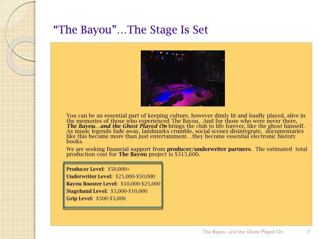"""""""The Bayou""""…The Stage Is Set"""