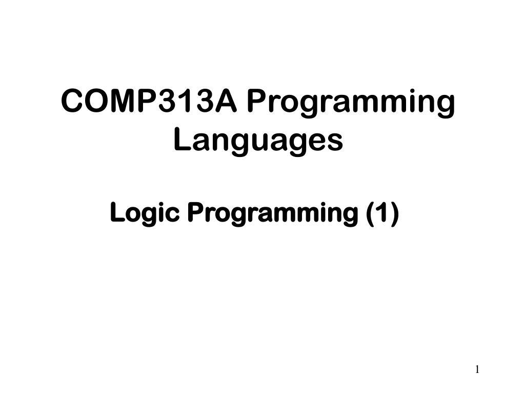 comp313a programming languages l.