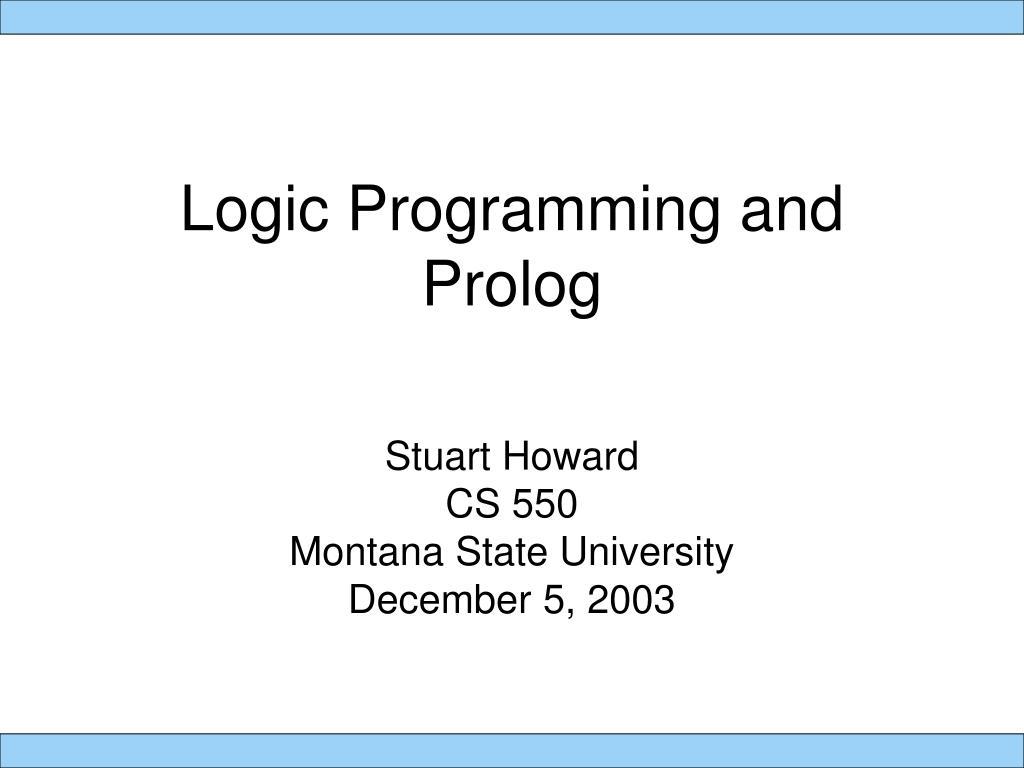 logic programming and prolog l.