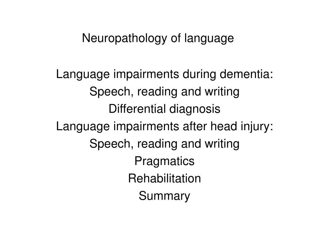 neuropathology of language l.