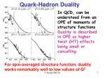 quark hadron duality