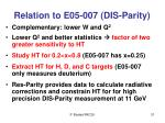 relation to e05 007 dis parity