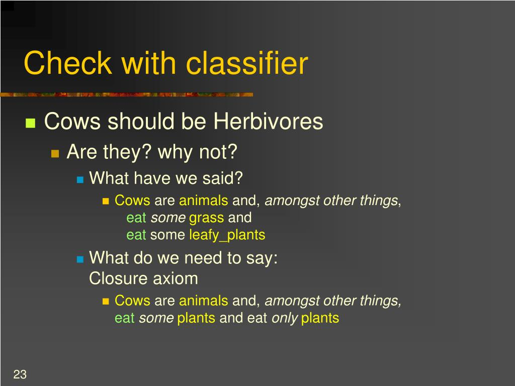 Check with classifier