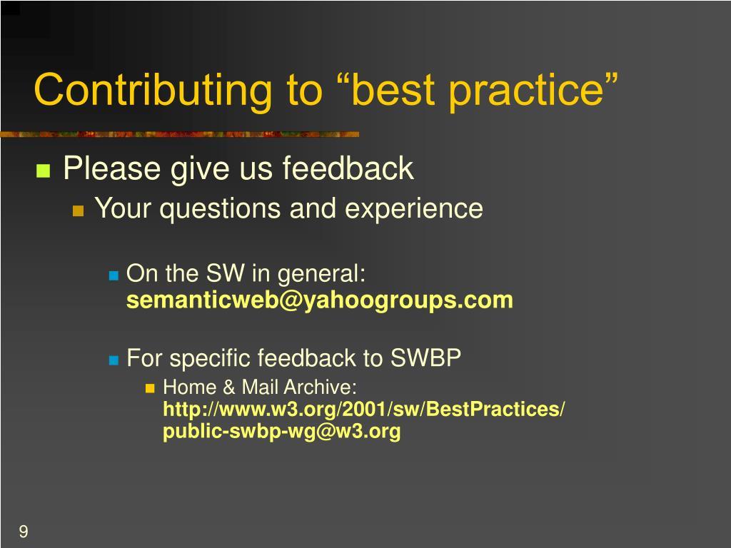 "Contributing to ""best practice"""