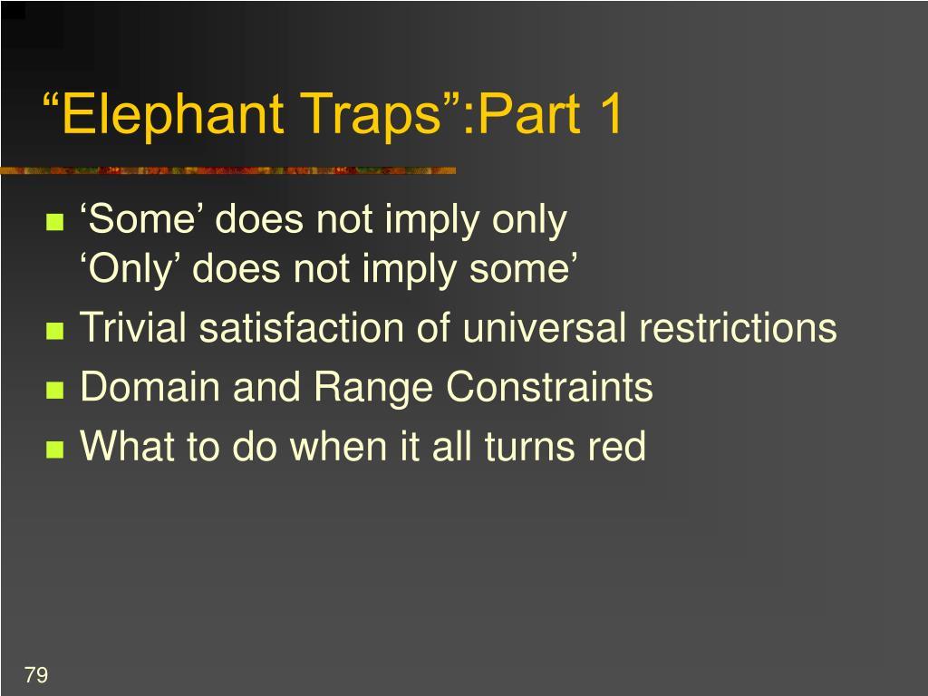 """""""Elephant Traps"""":Part 1"""