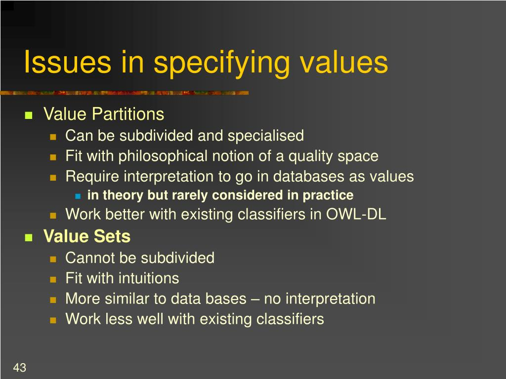 Issues in specifying values