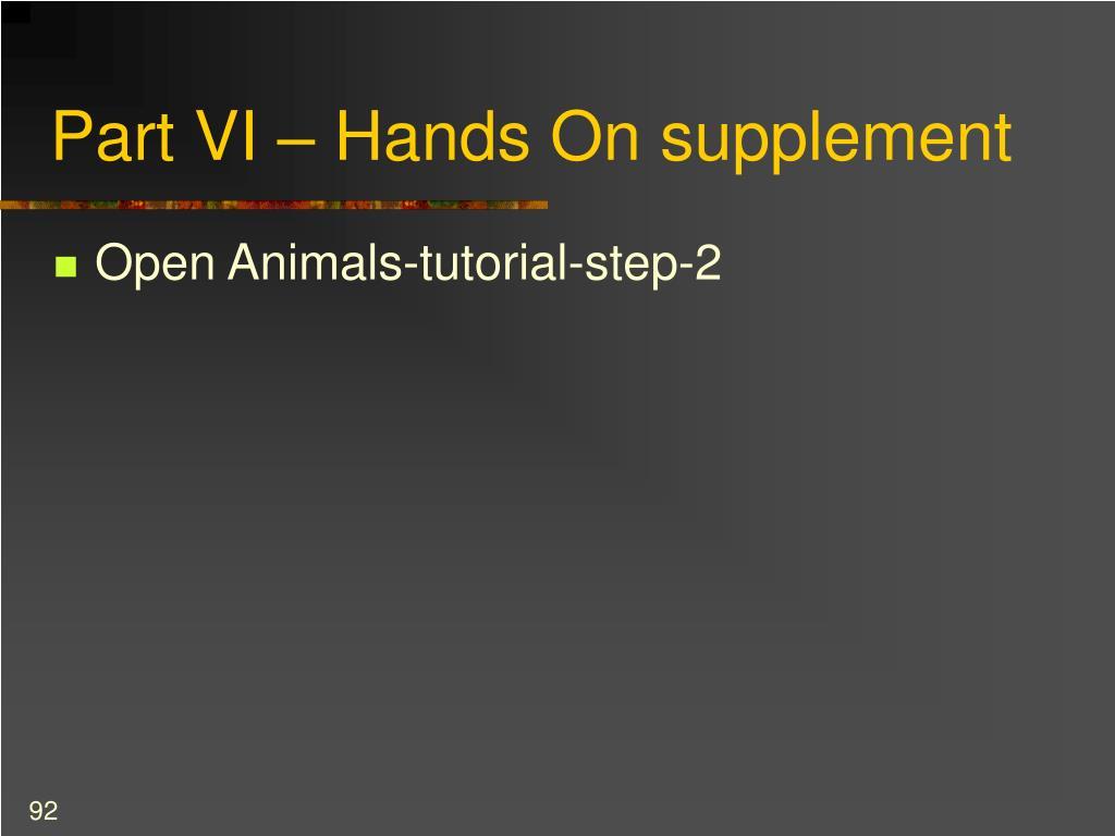 Part VI – Hands On supplement