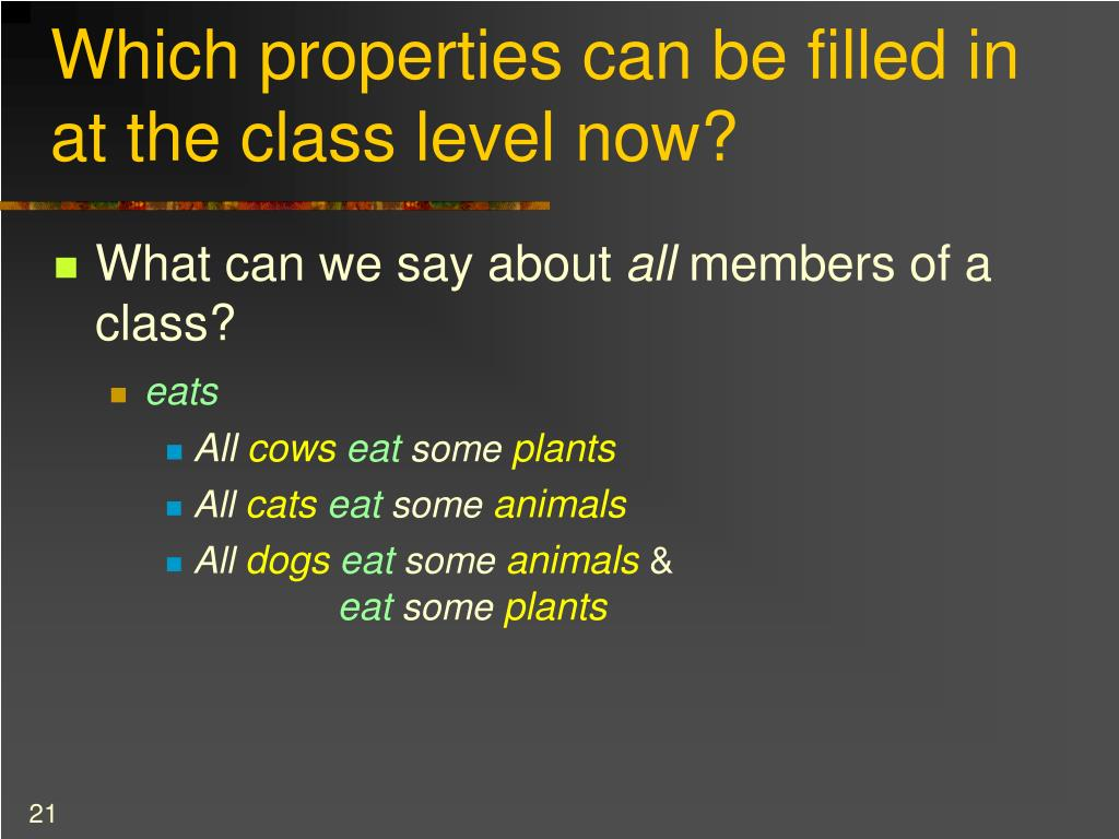 Which properties can be filled in