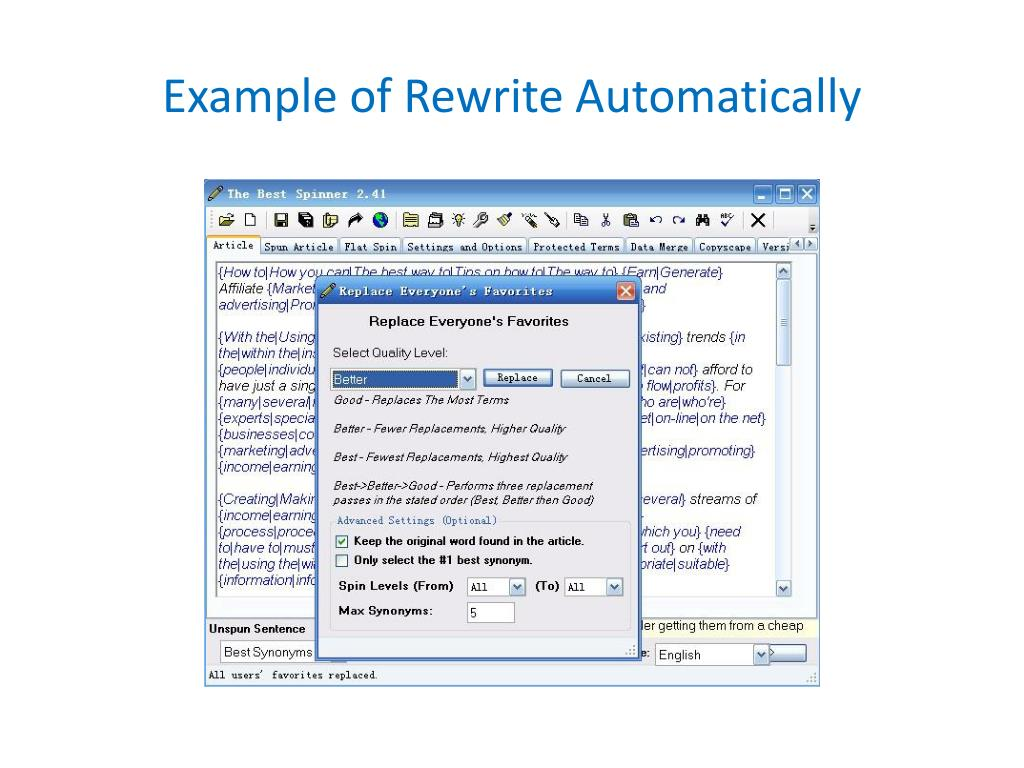 Example of Rewrite Automatically