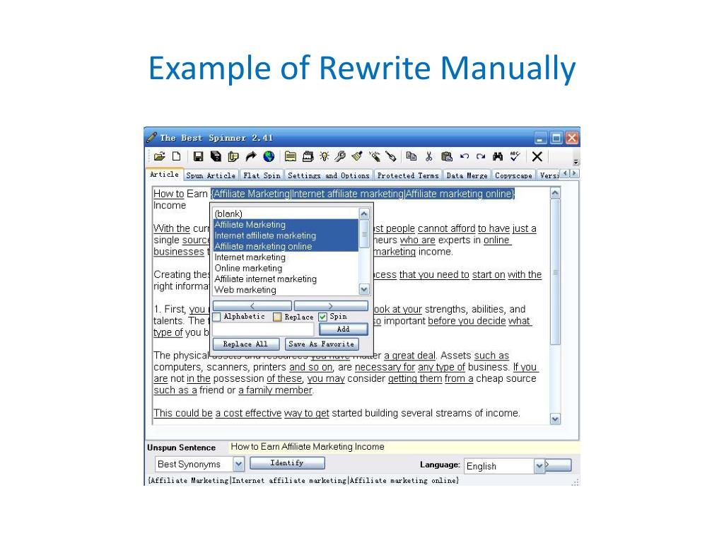 Example of Rewrite Manually
