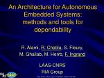 an architecture for autonomous embedded systems methods and tools for dependability