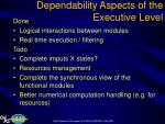 dependability aspects of the executive level