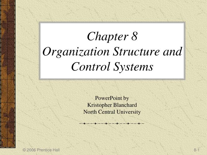 chapter 8 organization structure and control systems n.