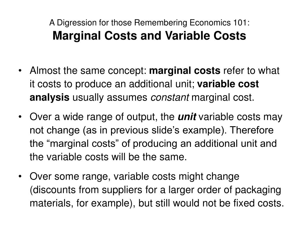 A Digression for those Remembering Economics 101: