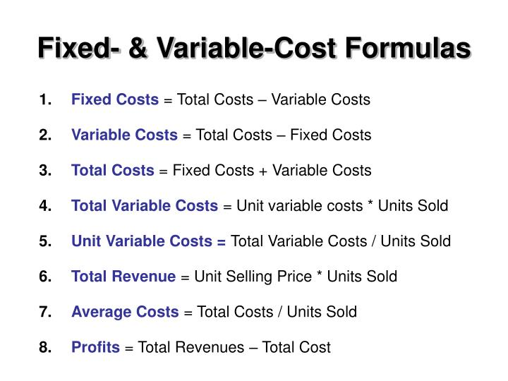Fixed variable cost formulas