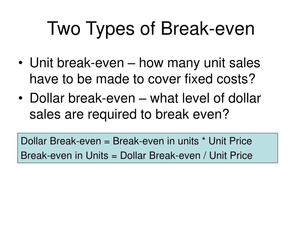 Two Types of Break-even