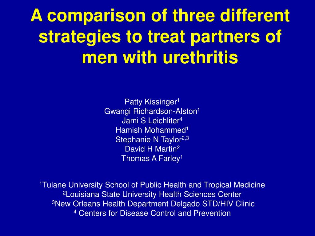 a comparison of three different strategies to treat partners of men with urethritis l.