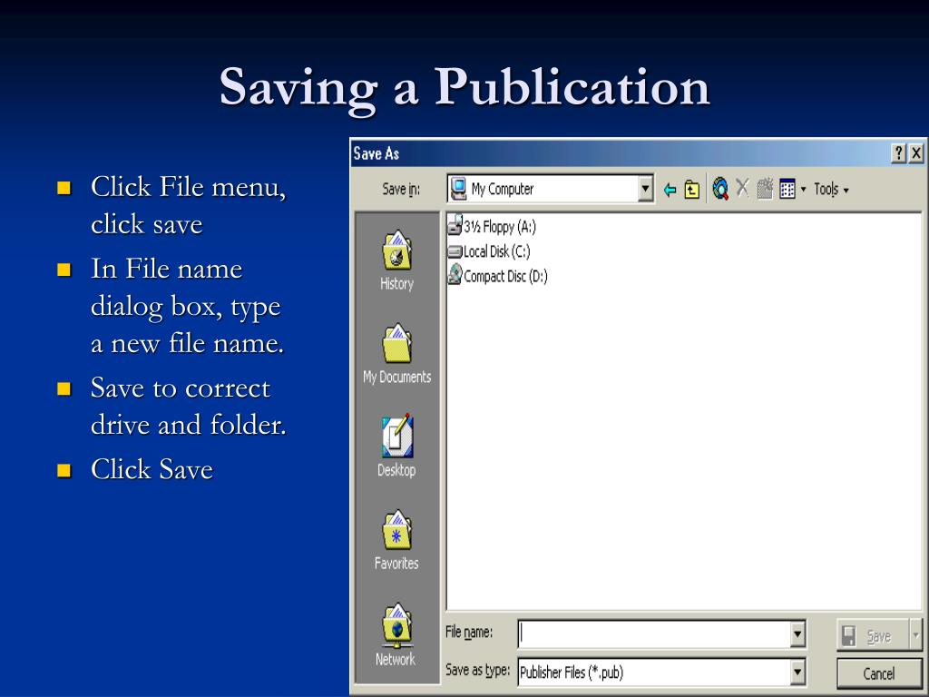Saving a Publication