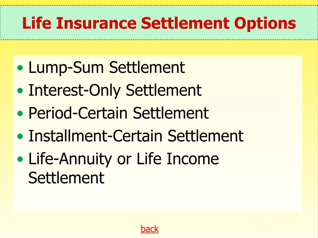 Life Insurance Settlement Options