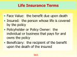 life insurance terms