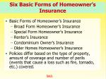 six basic forms of homeowner s insurance
