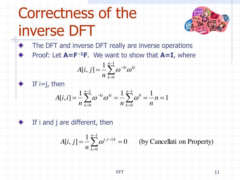 Correctness of the inverse DFT