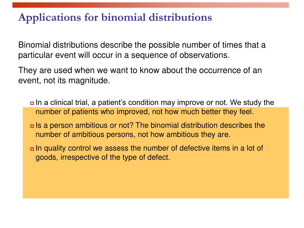 Applications for binomial distributions
