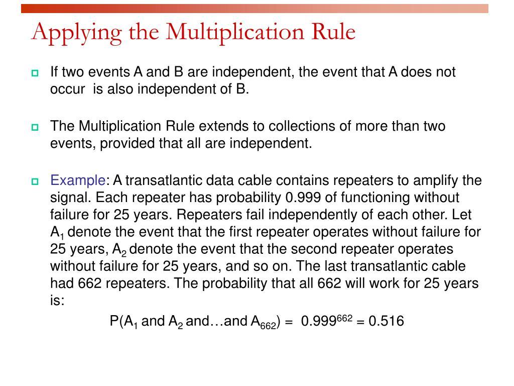 Applying the Multiplication Rule