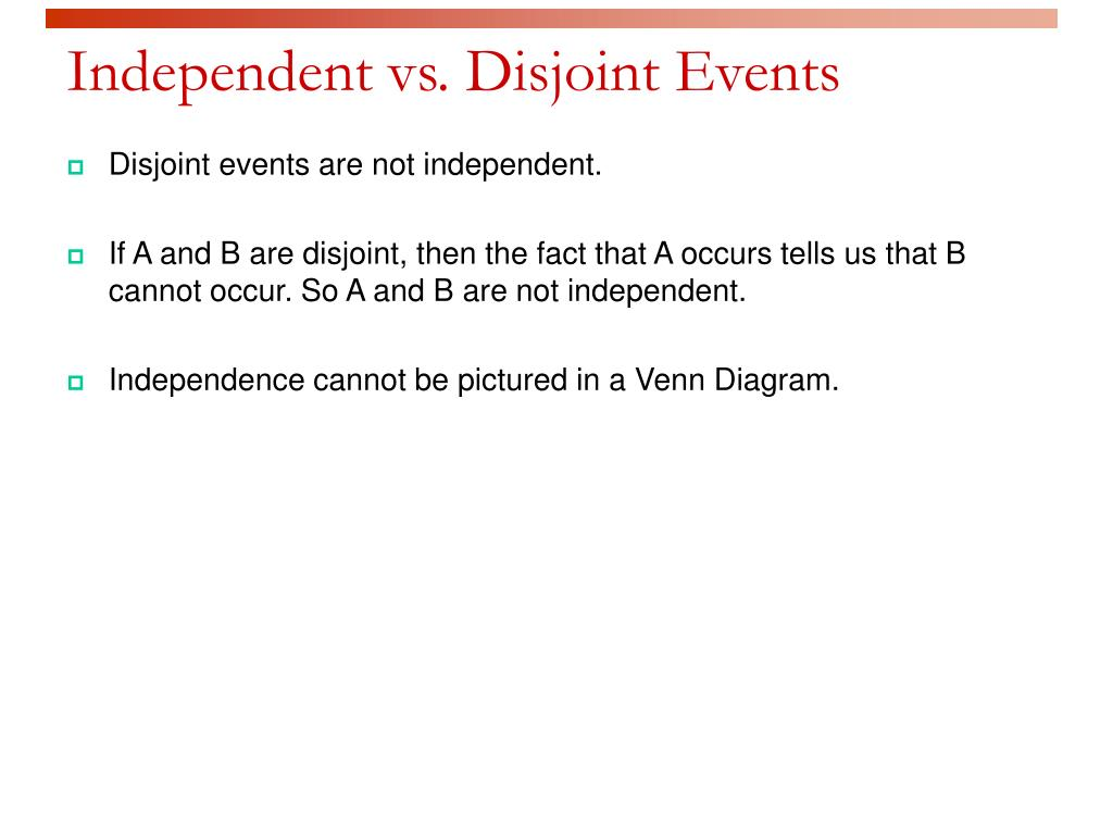 Independent vs. Disjoint Events