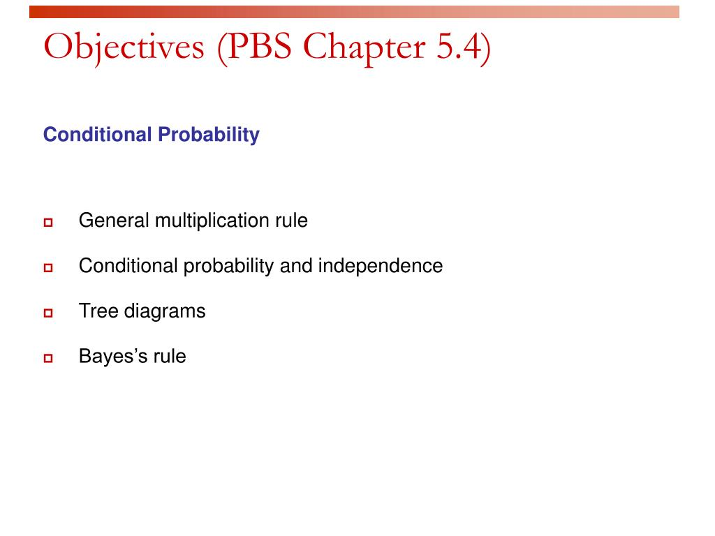 Objectives (PBS Chapter 5.4)