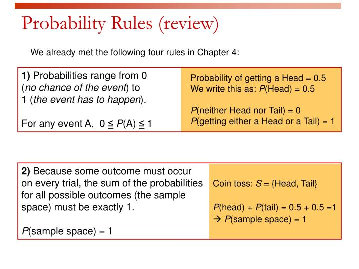 Probability rules review