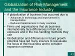 globalization of risk management and the insurance industry