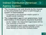 indirect distribution american agency system