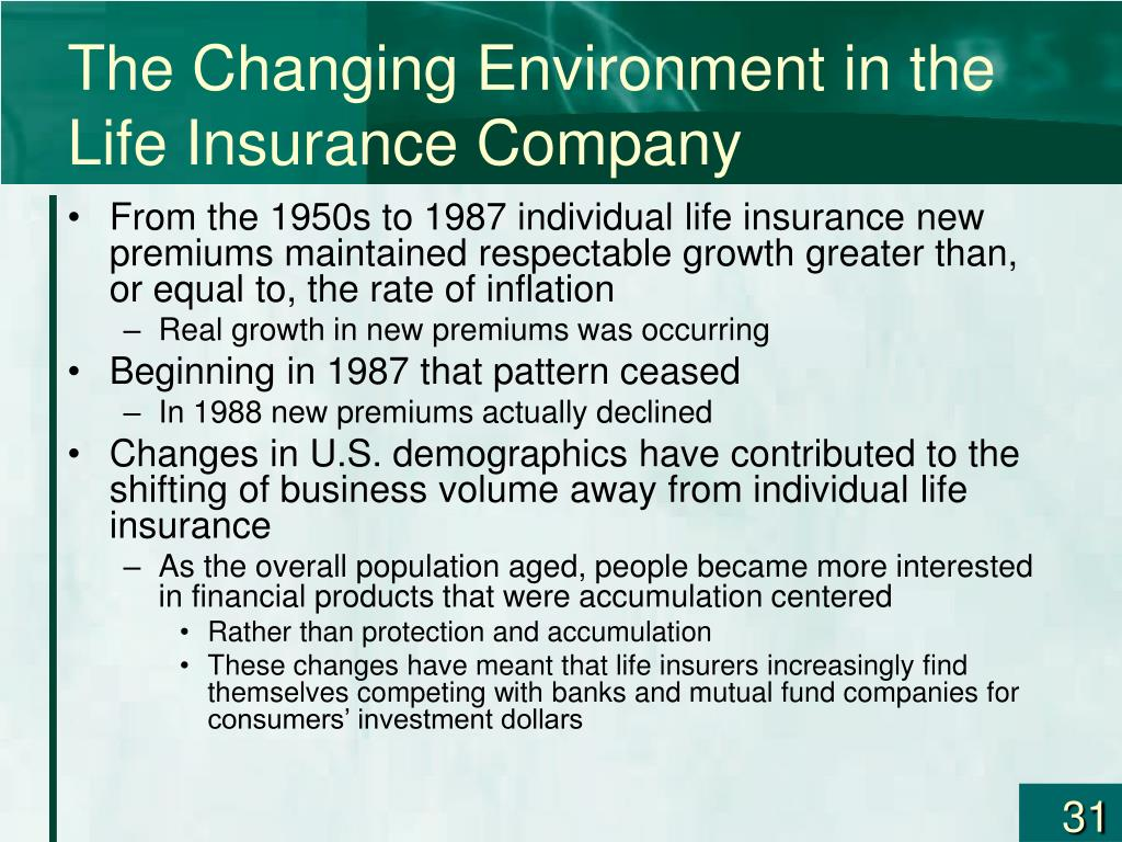 The Changing Environment in the Life Insurance Company