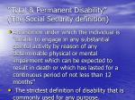 total permanent disability the social security definition