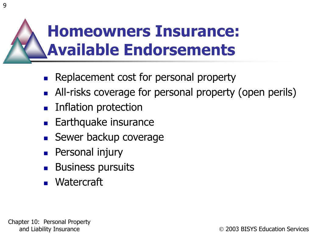 Homeowners Insurance: Available Endorsements