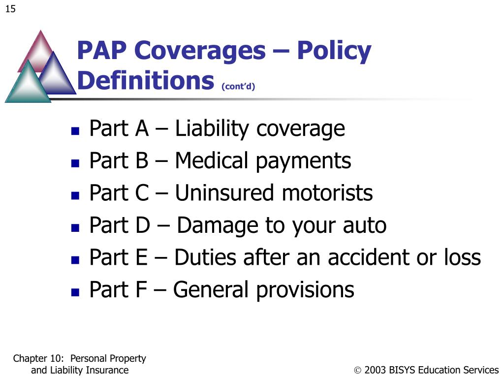PAP Coverages – Policy Definitions
