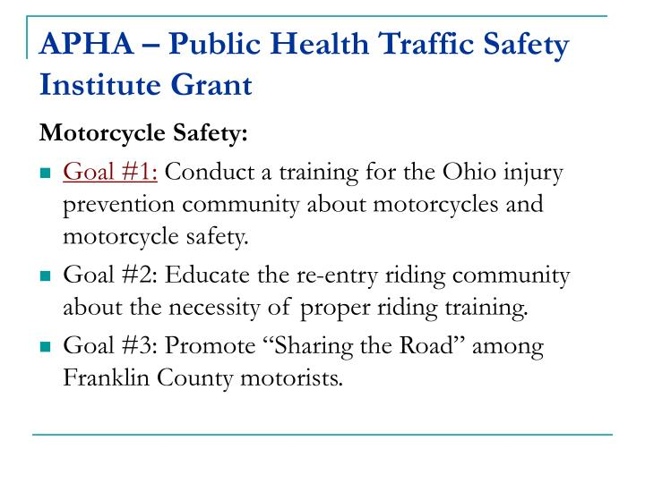 Apha public health traffic safety institute grant