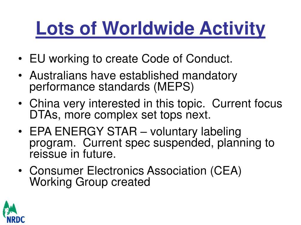 Lots of Worldwide Activity