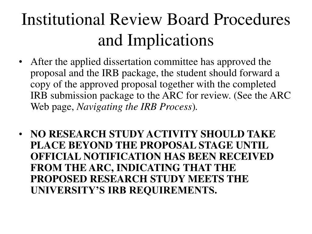 institutional review board procedures and implications l.