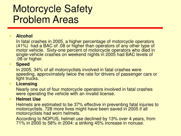 Motorcycle safety problem areas