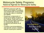 motorcycle safety programs national agenda for motorcycle safety