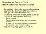 overview of section 1914 fhwa motorcycle advisory council