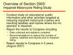 overview of section 2003 impaired motorcycle riding study